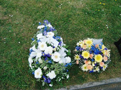 """Lovely blue & white flowers from Paul's Spanish friends. """"You'll never be forgotten. Adios amigo"""""""