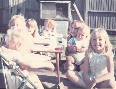 1973   Paul and his sisters, playing with next door neighbours Ashley and twins Jacqueline & Jeremy