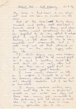 September 1994 - Paul's college assignment