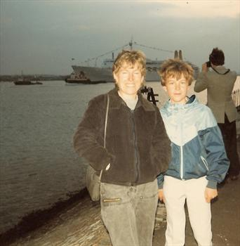 April 1985 - Canberra sails from Southampton -  Away 'weekender'