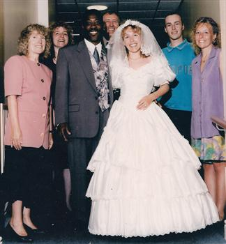 April 1993 -  Paul and family at Karin's & Mervin's wedding reception.