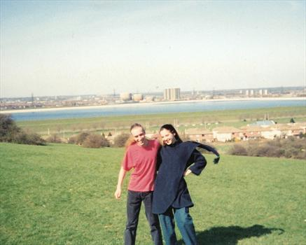 19th March 1993 - Paul and Luey, view overlooking King George V Reservoir, Chingford
