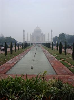 The magnificent Taj Mahal in the early morning mist