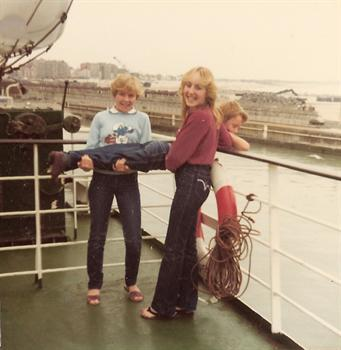 Super Blues Cruise to Belgium 1981 - Karin and Nicola throwing Paul overboard!!!
