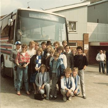 April 1985 - Group photo outside The Dell, Southampton FC - Away 'weekender'