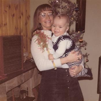Christmas Day 1972 - Paul with Auntie Pat