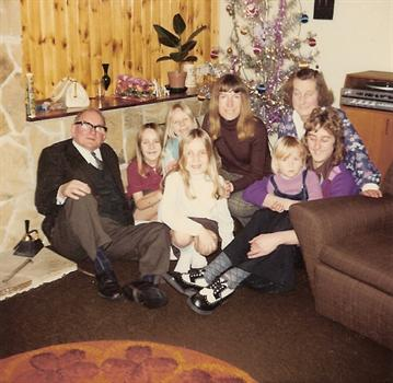 Christmas Day 1974 - The kids with mum Jill, Kevin and Granny & Grandad