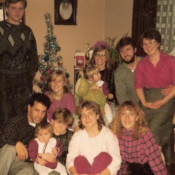 Christmas Day 1985 - Paul with cousin Carly