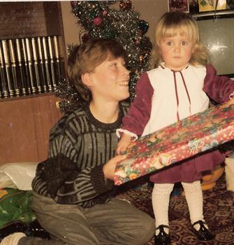 Christmas Day 1985 - Paul and cousin Zoe