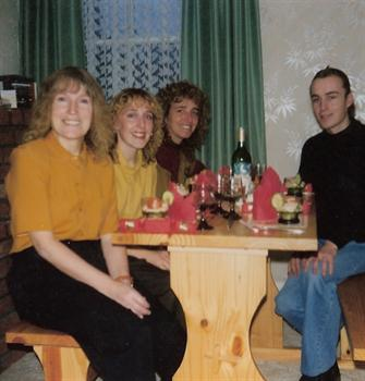 Christmas Day 1990 - Lunch with mum Jill, at Karin's and Tracey's house