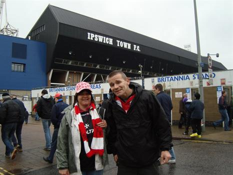 John and Michelle at Portman Road for the Ipswich Town v Sheffield United match