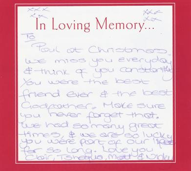 Clair's fond message to Paul - Christmas 2010