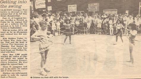 An old newspaper cutting, reporting on the KP Hula Hoops Championship   Local Heats 1985