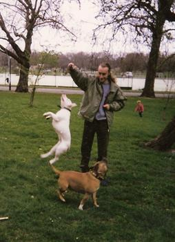 1996 - Paul playing with Lisa's dogs, Samson and  Karma in Battersea Park