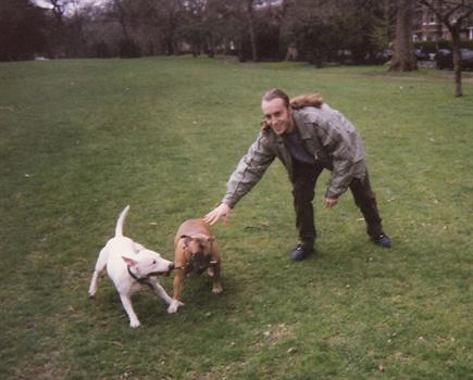 1996 - Paul  with Samson and Karma in Battersea Park
