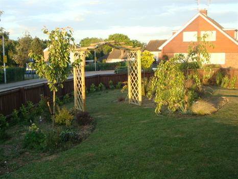 Jill's garden at sunset, created in memory of Paul