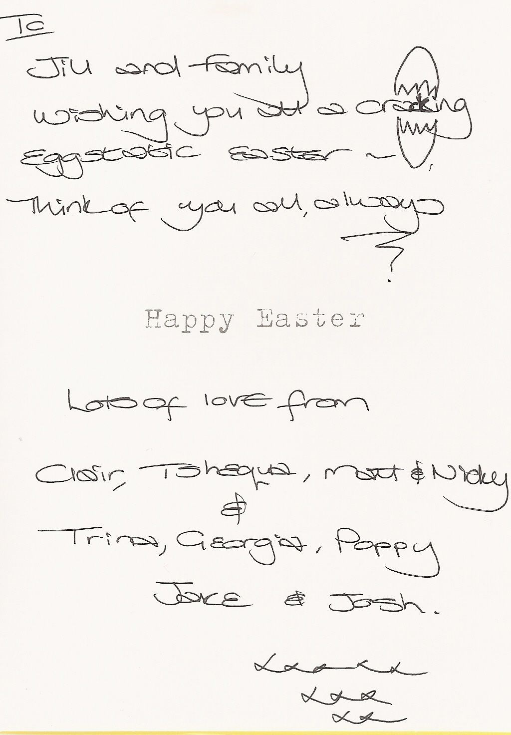 The message on our Easter card