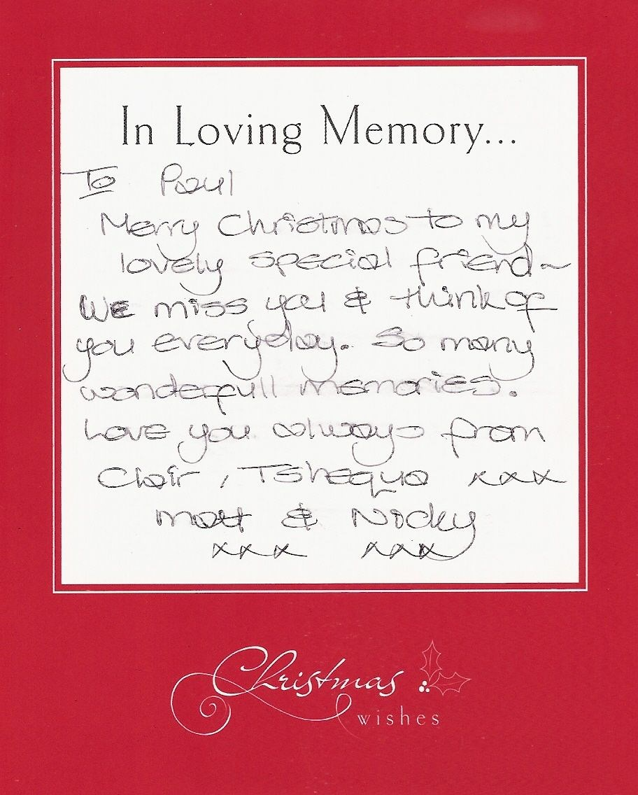 The message on Paul's card - Christmas 2012
