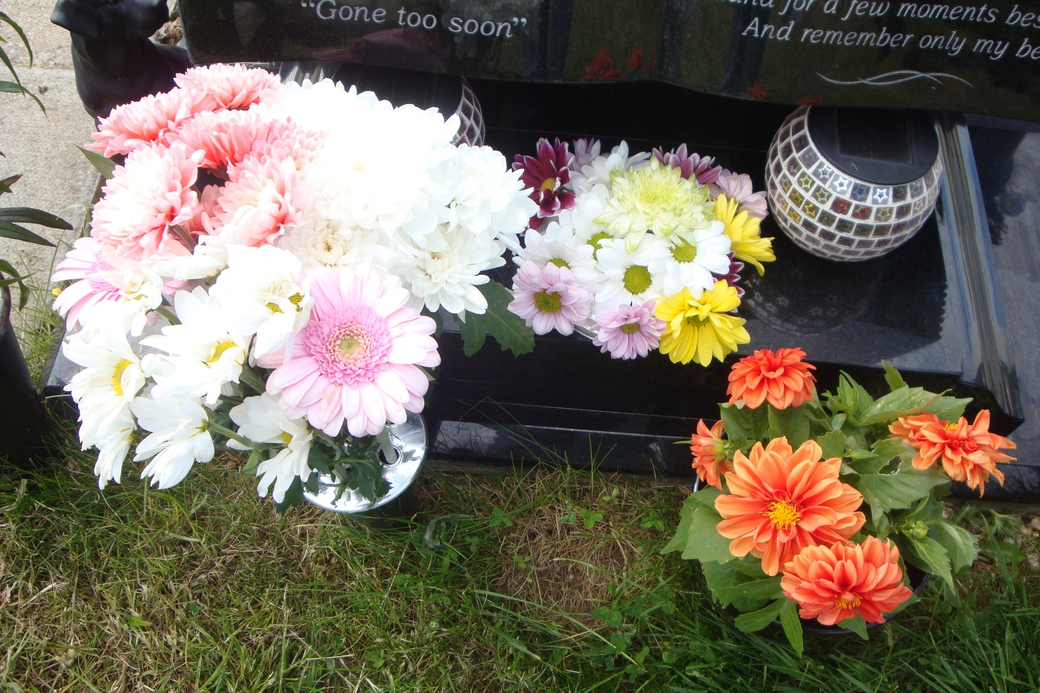 Pretty pink & white flowers from an anonymous friend, posy from Jean and bright dahlia from Pat