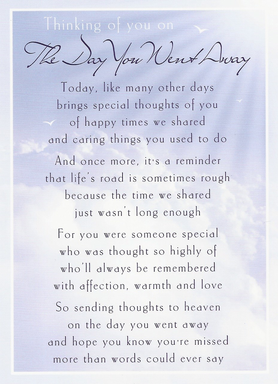 """""""The Day You Went Away"""", loving sentiments from Clair and family - 14th May 2014"""