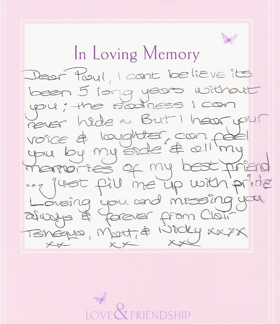 Clair's message to Paul - 14th May 2014