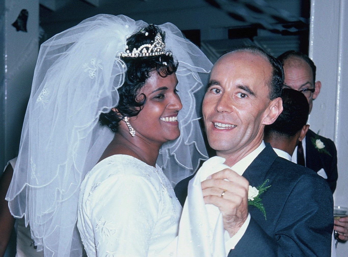 Jim with Gloria on their wedding day, 8th October 1966, Georgetown, Guyana