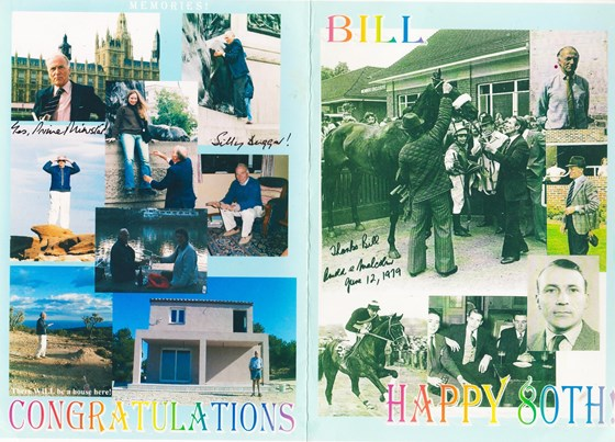 80th Birthday card from a dear friend of Bills.
