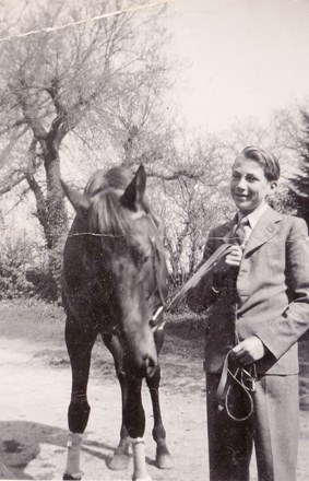"William with ""Mirial 2"" taken around aged 19 probably at Epsom during his apprenticeship there."