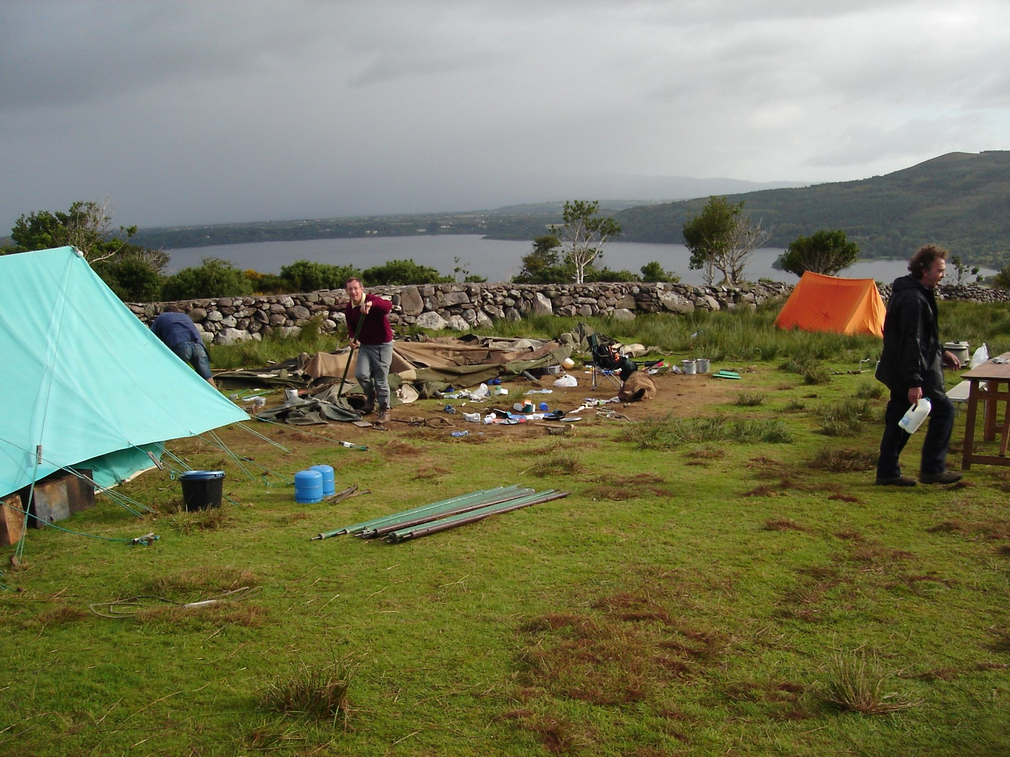 Helping to clear up after the storm, Summer Camp, Ireland, 2005, 24th August