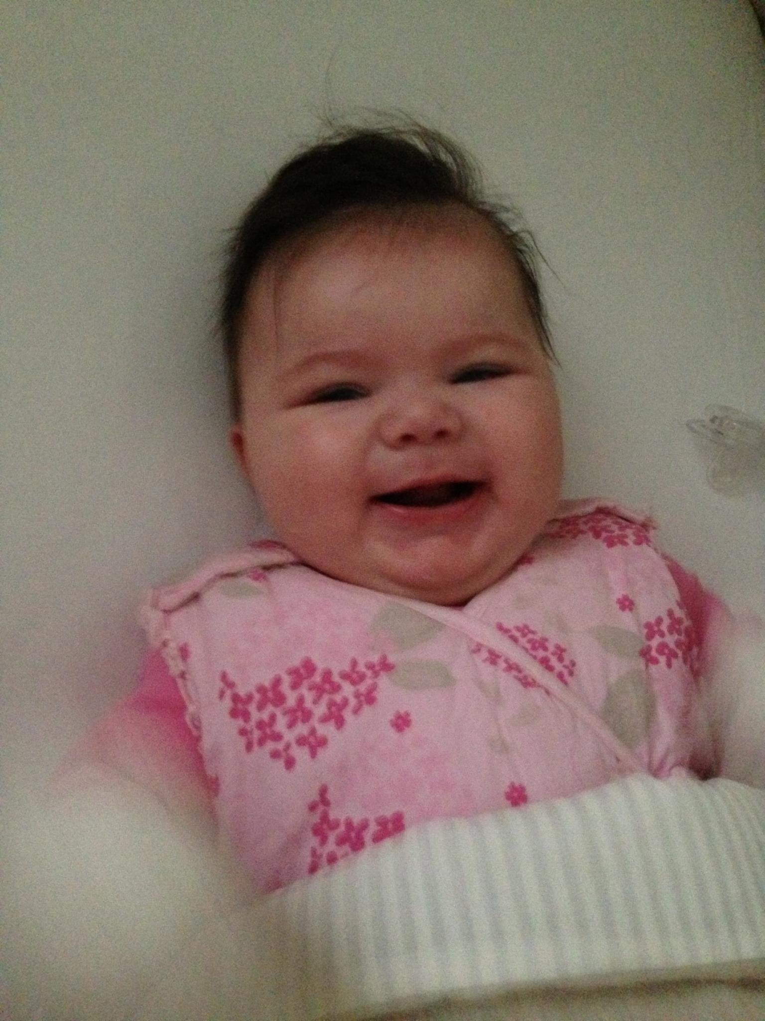 Hi mum here is lily smiling away she be a happy wee baby x x