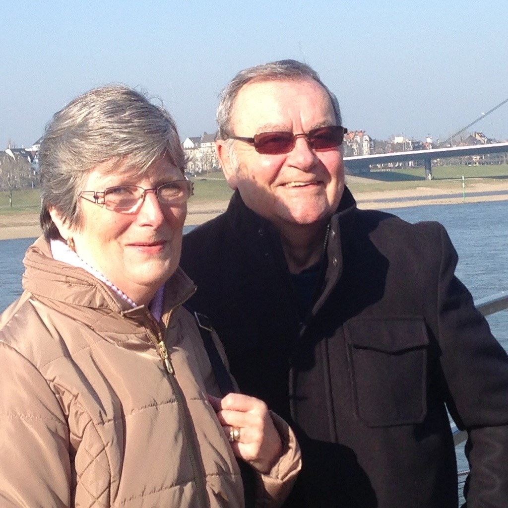 A lovely photo of Bob and Brenda on a very chilly day down on the Rhine in Duesseldorf