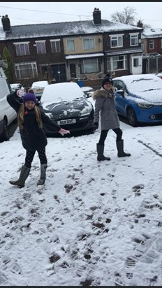Playing in the snow with you sister xx