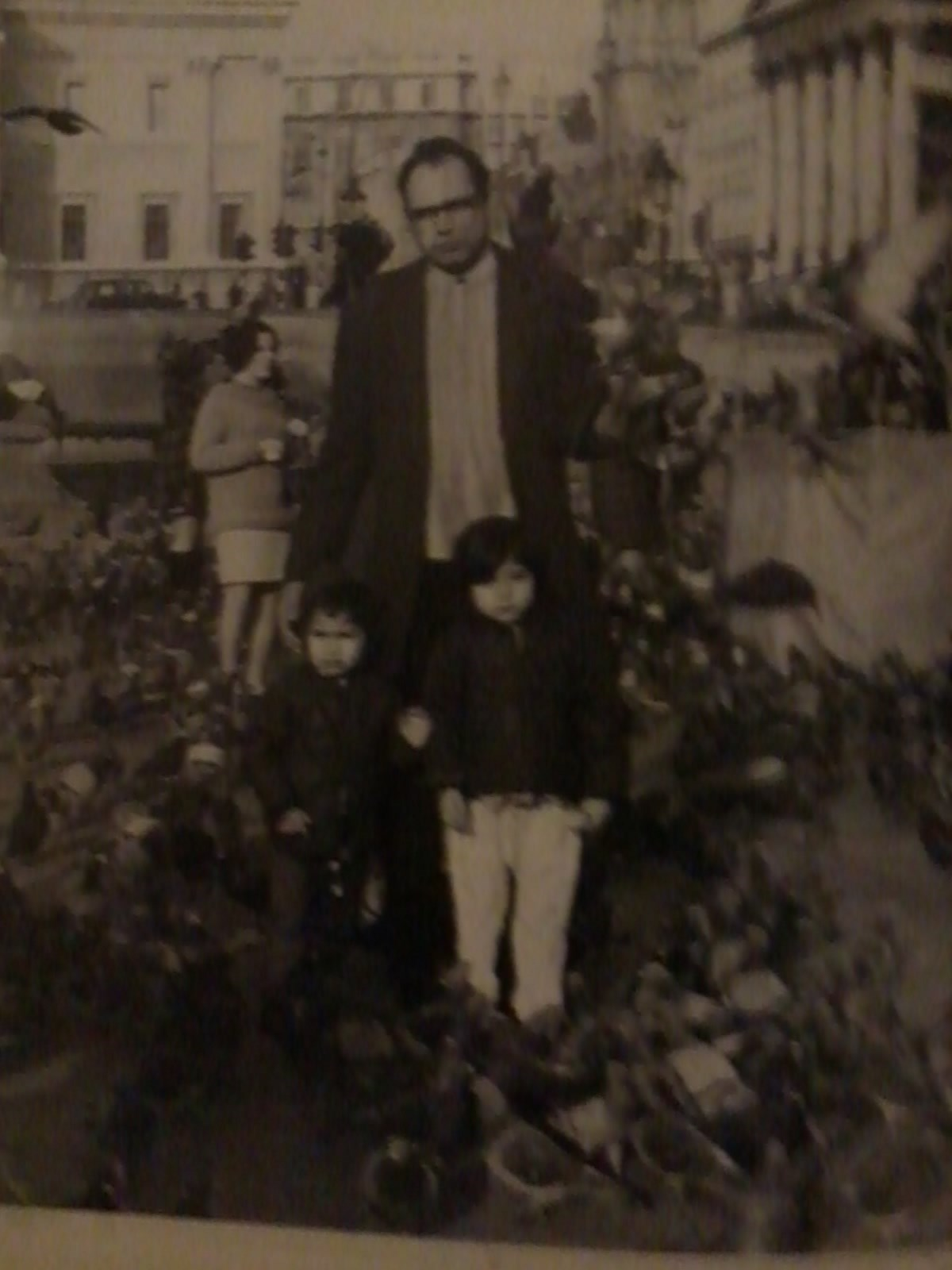 My Dad, sister and brother in Trafalgar square London 1969