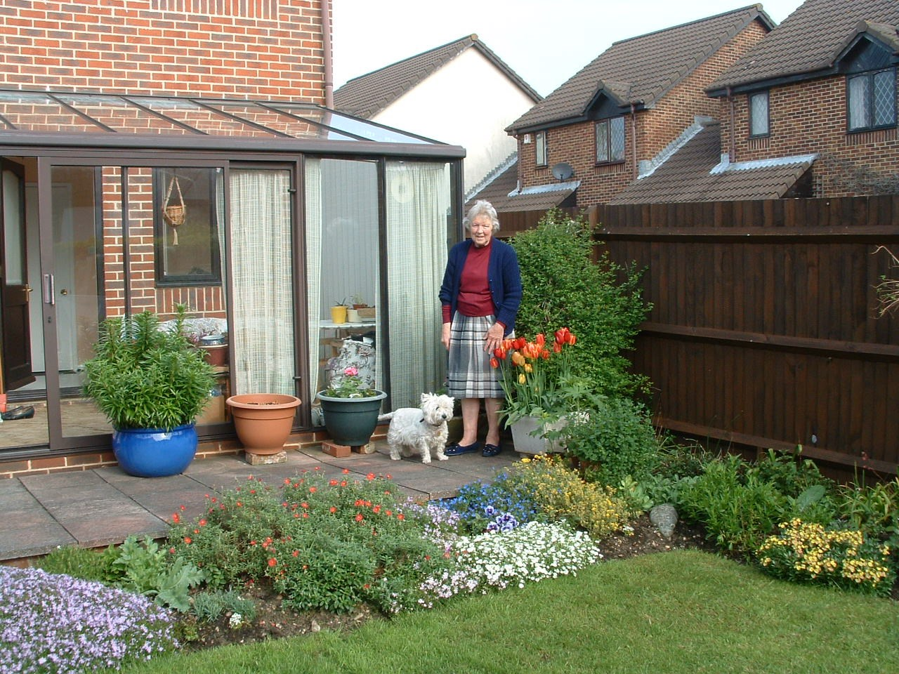 Mother with Milly in her garden