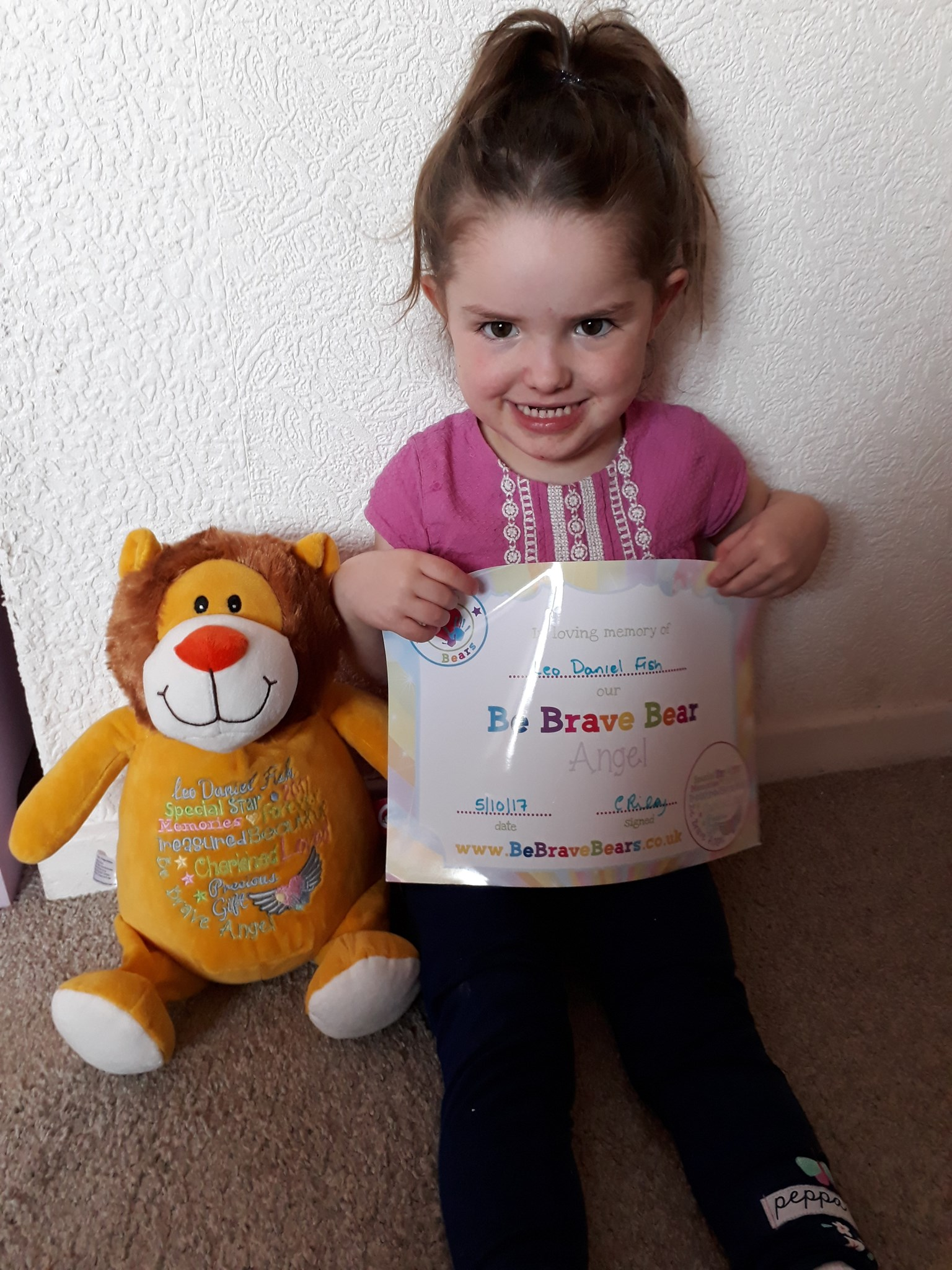 We received your be brave lion bear today gorgeous boy... evie takes it everywhere with her.. love u