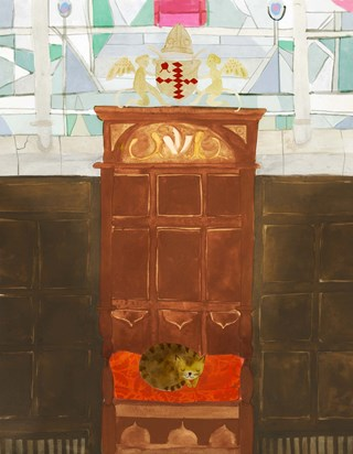 """I wrote about Doorkins in my book """"Rebel Cats!"""", and had the honour to meet her several times. This illustration from the book shows her napping on a chair when The Queen paid a visit to the Cathedral!"""