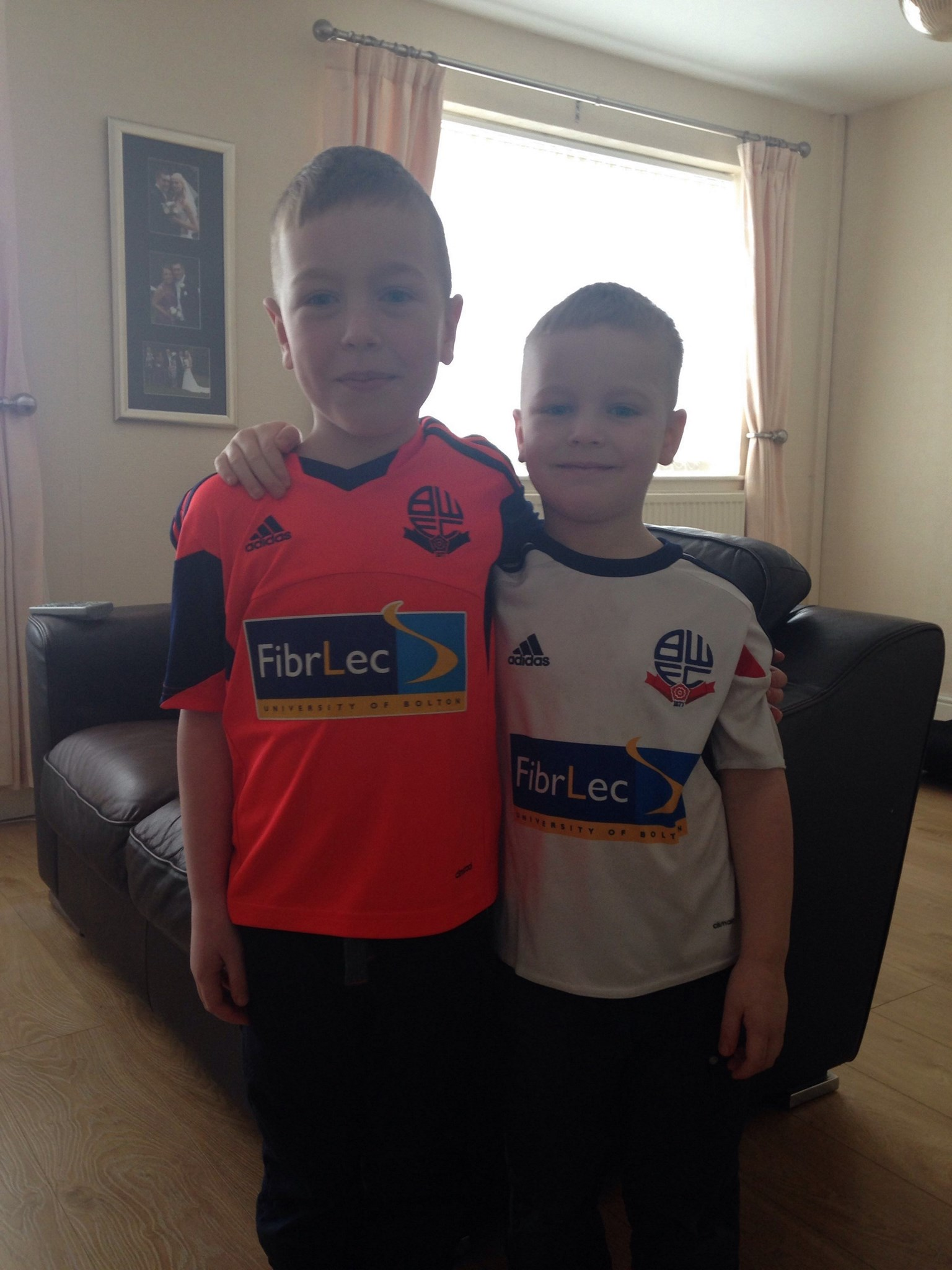 Here are the boys Grandma, looking all grown up ready for their first Bolton match! Thinking of u ??