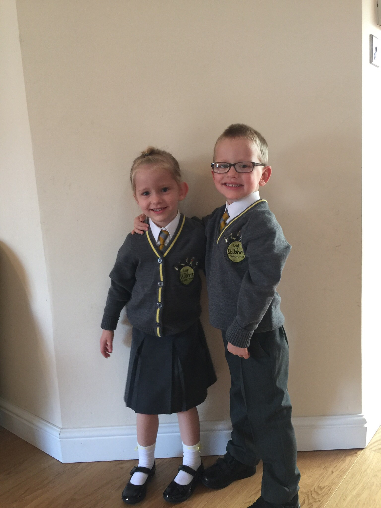 Great-grand twins off to school