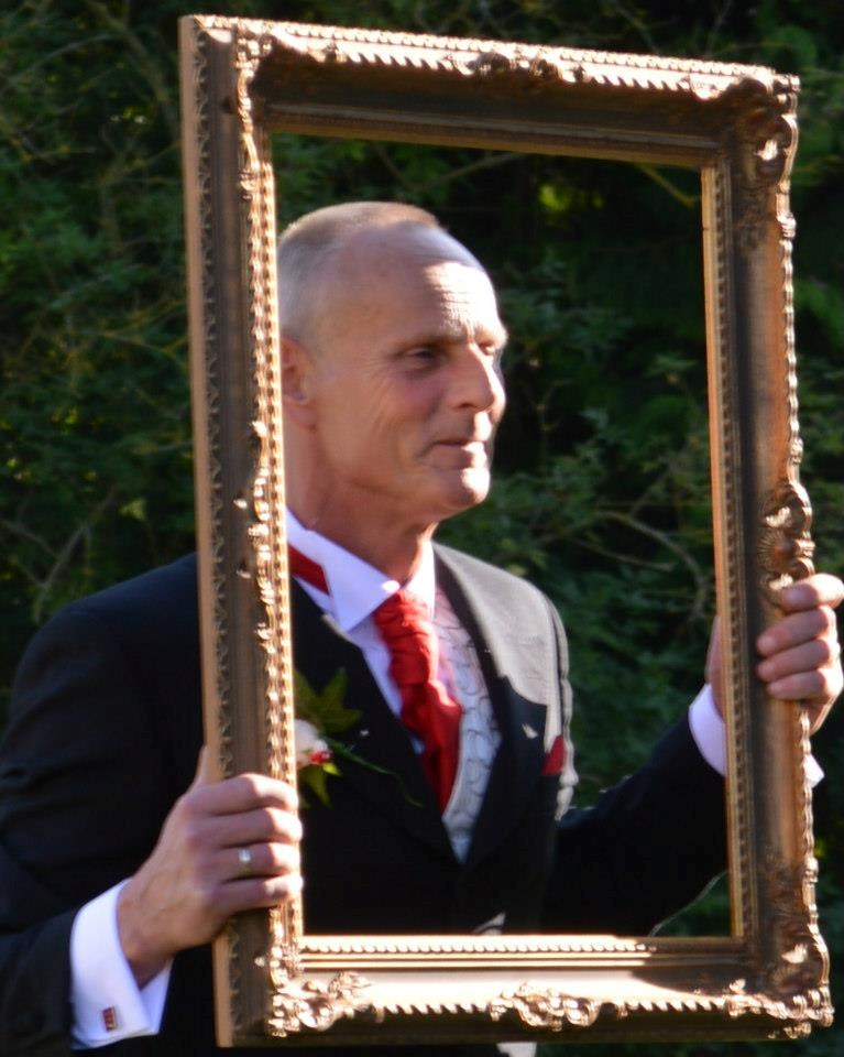 Happier times - Father of the Bride - larking around! :)
