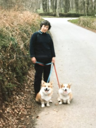 Mum with her beloved corgis, Badger and Jessie
