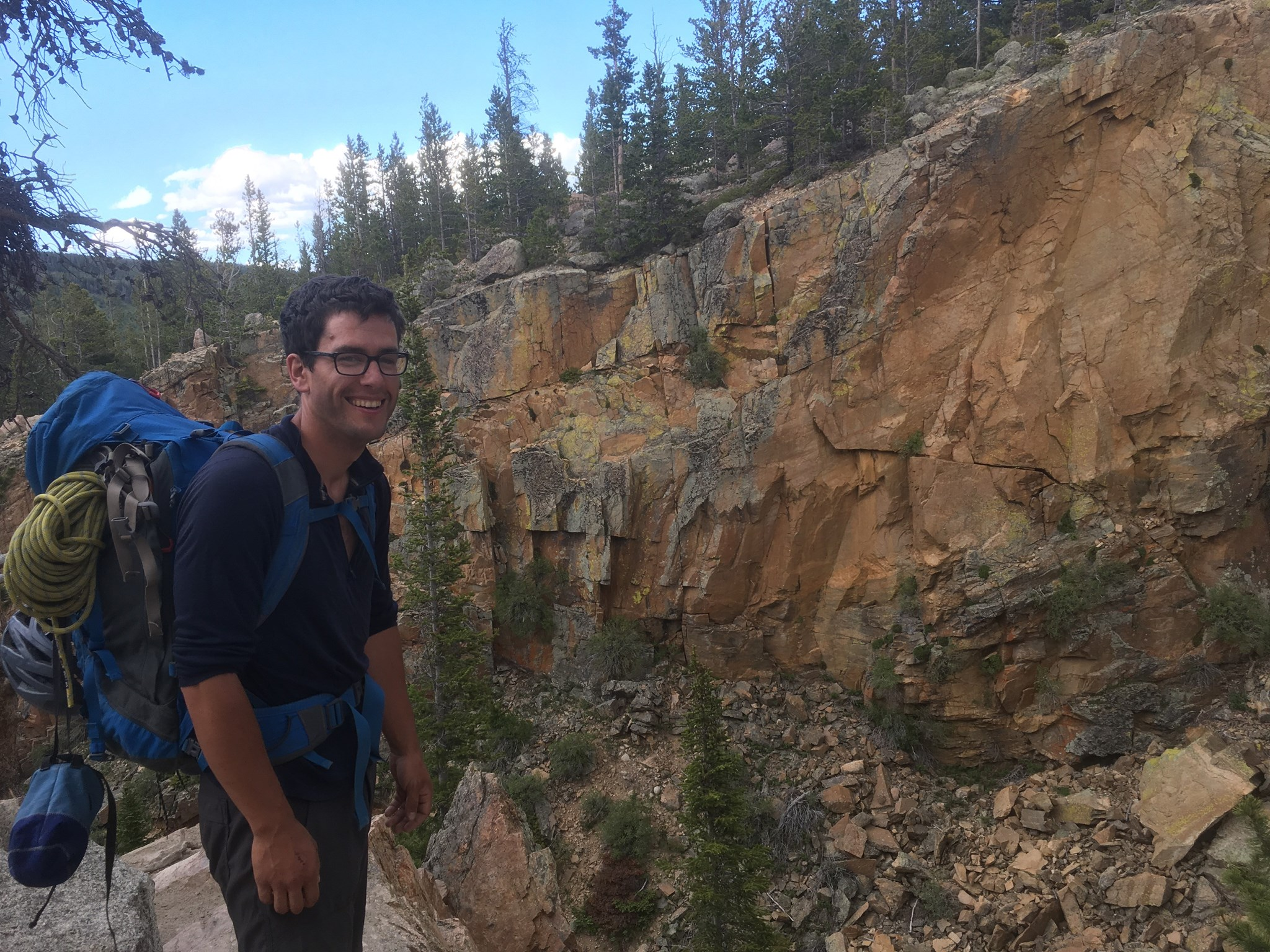 Marco by some waterfall feature in RMNP