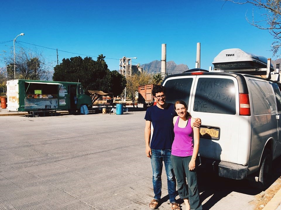 Marco and Emily and their dusty van before leaving Mexico in Jan 2018.