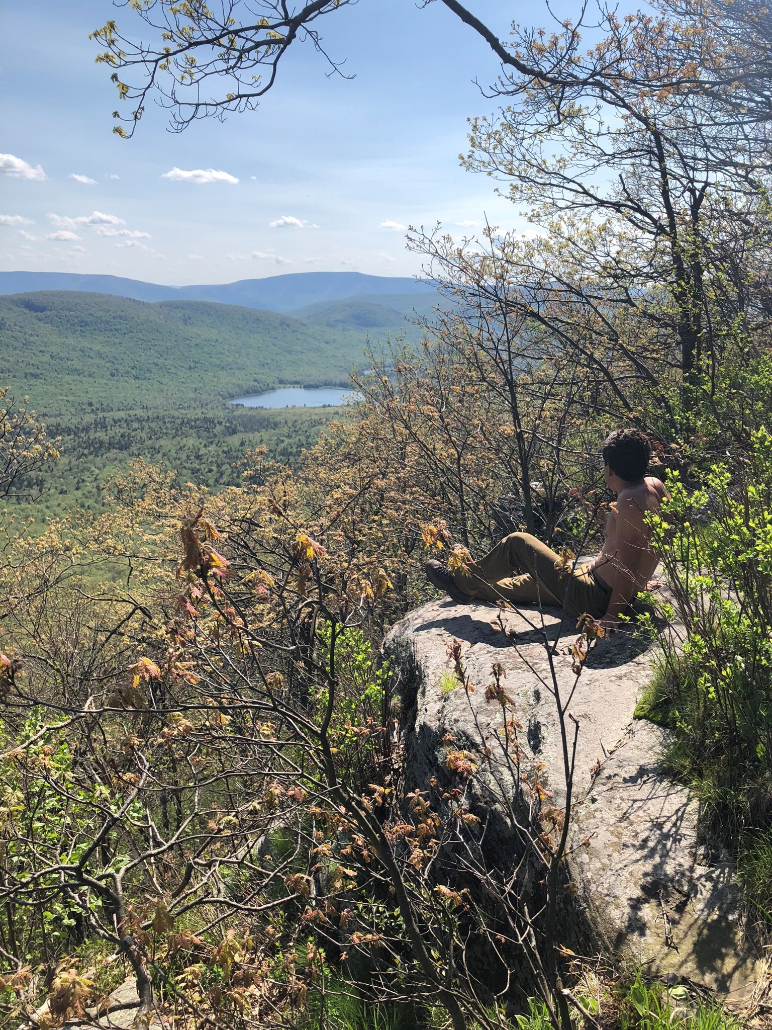 Enjoying the view and the sun on Blackhead Mountain in the Catskills, May 2018