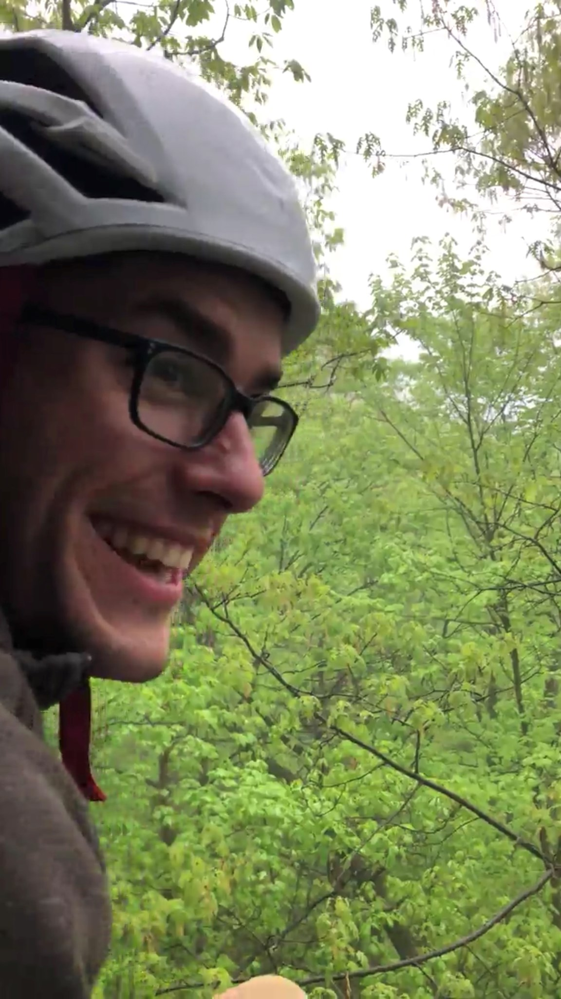 Laughing about getting caught in the rain mid climb in the Gunks, May 2018