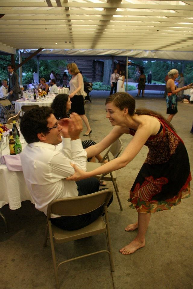 Coaxing Marco to dance at Heather & Zack's wedding (2011)