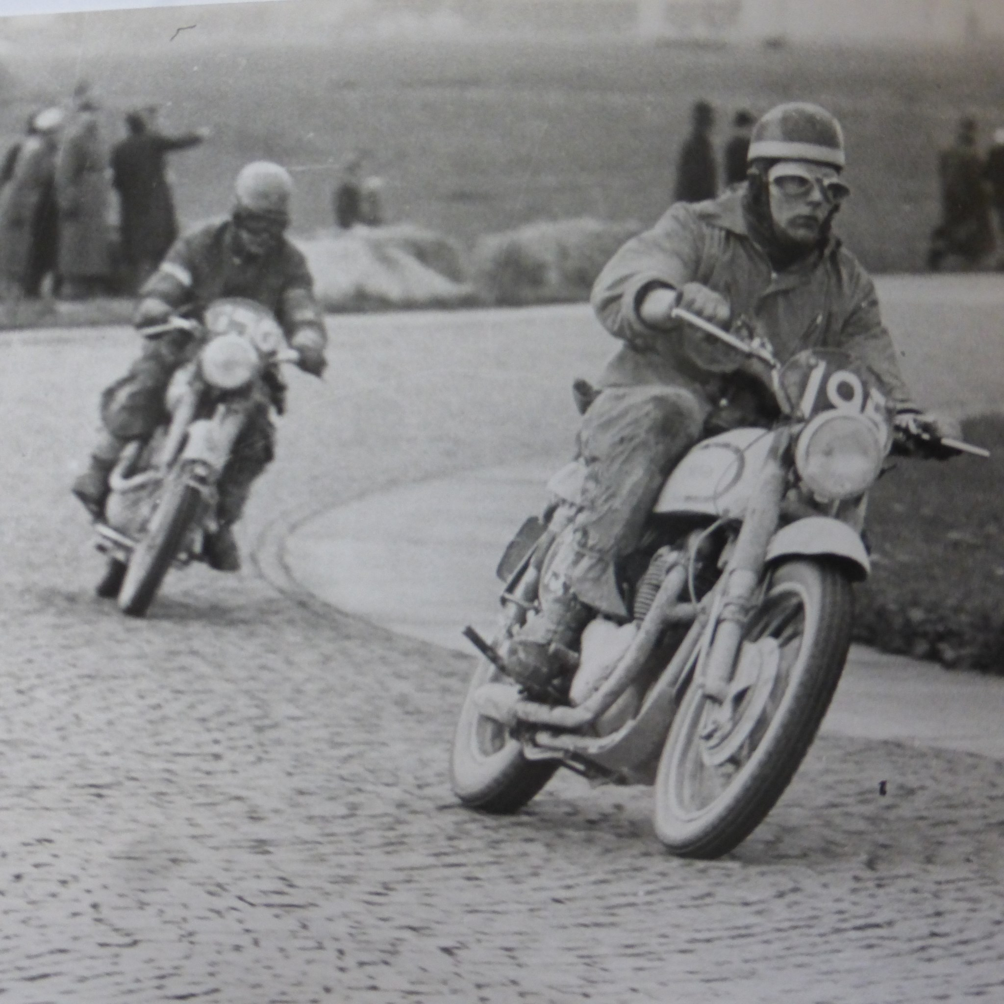 Don racing in Austria in the International six days trial. 1952