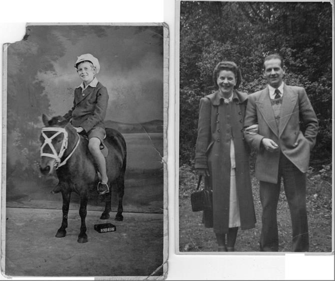 Dad as a young boy and later with our mum Joyce.
