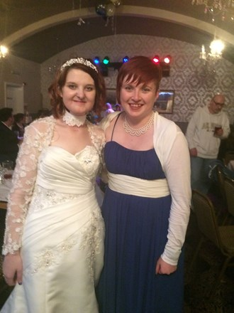 Emily (left) at here wedding a month before she passed away
