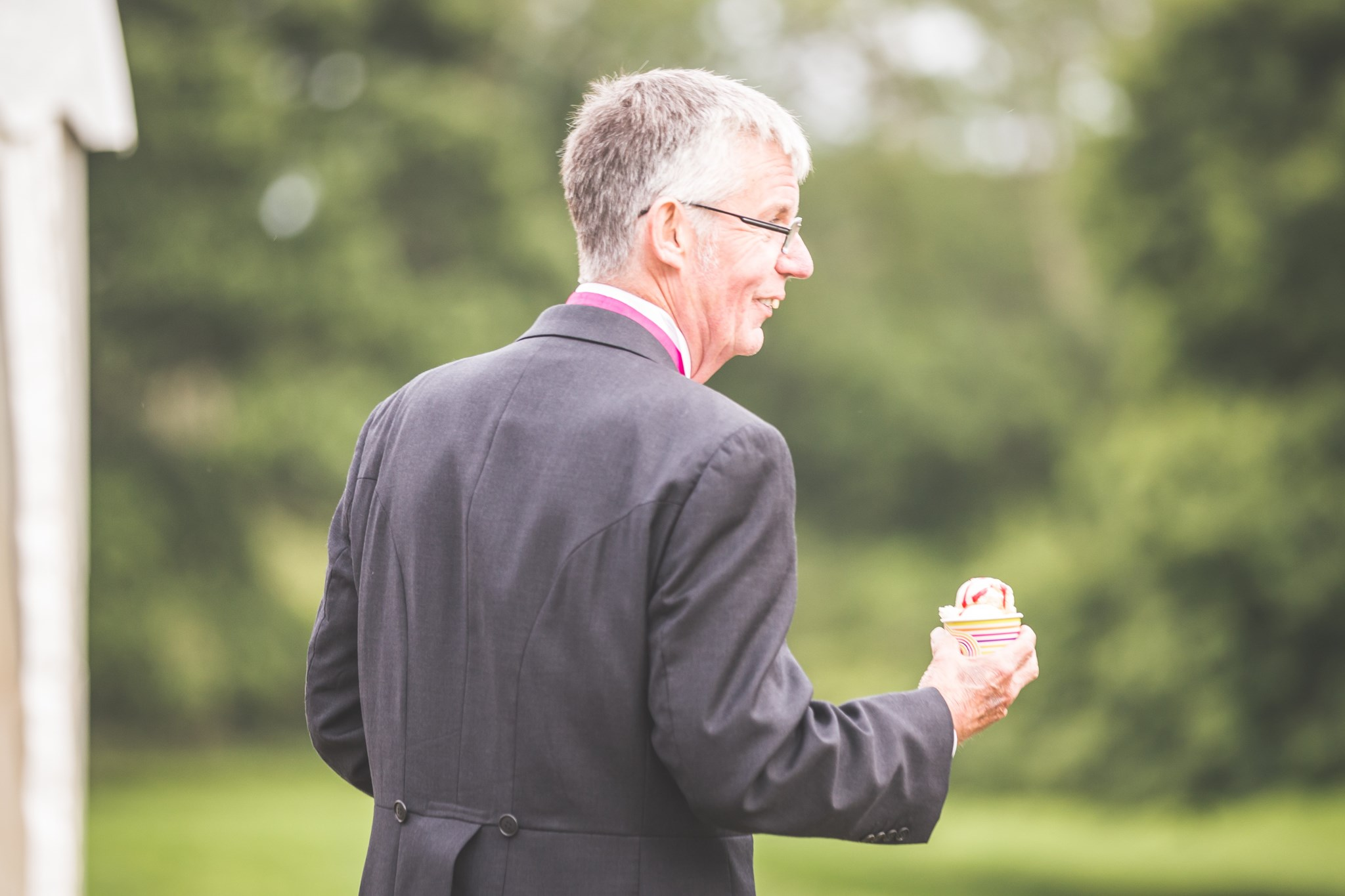 Dad showing off his ice cream