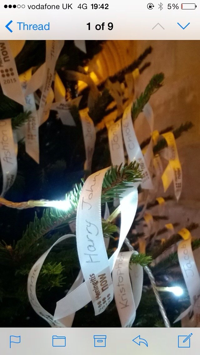 Your Christmas ribbon at the meningitis concert in Gloucester x